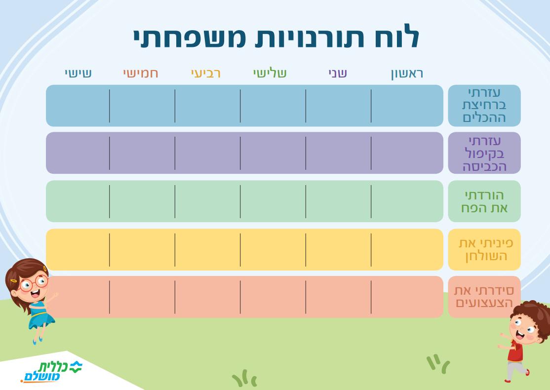 לוח תורנויות משפחתי