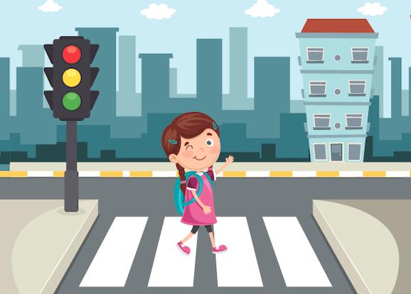 ילדה עצמאית עוברת את הכביש