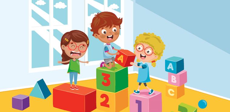 ילדים משחקים בקוביות