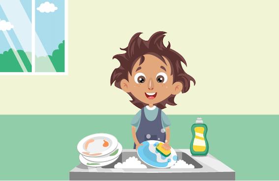 ילד שוטף כלים